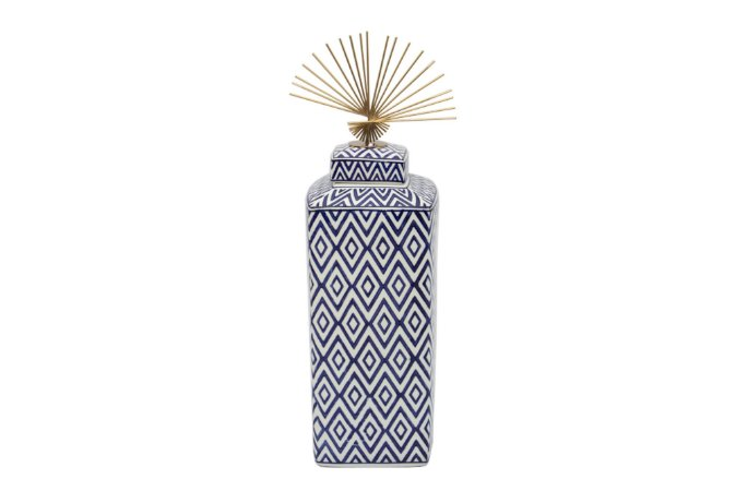 Pote Decorativo Azul e Branco Losango Grande