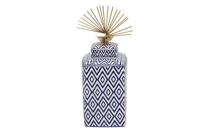 Pote Decorativo Azul e Branco Losango Médio