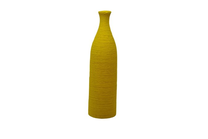 Vaso Decorativo Amarelo Grande Textura Garrafa