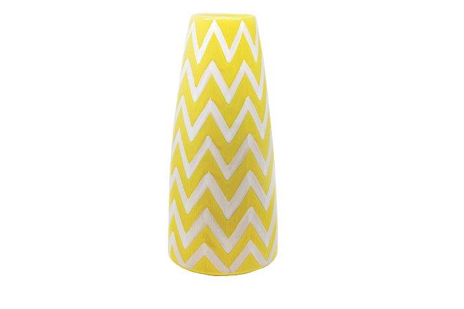Vaso Decorativo Amarelo Zig Zag Médio