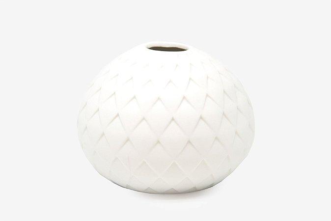 Vaso Decorativo Branco Treliça Baixo