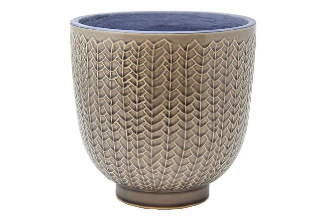 Vaso Decorativo Bege e Azul Unha de Gato