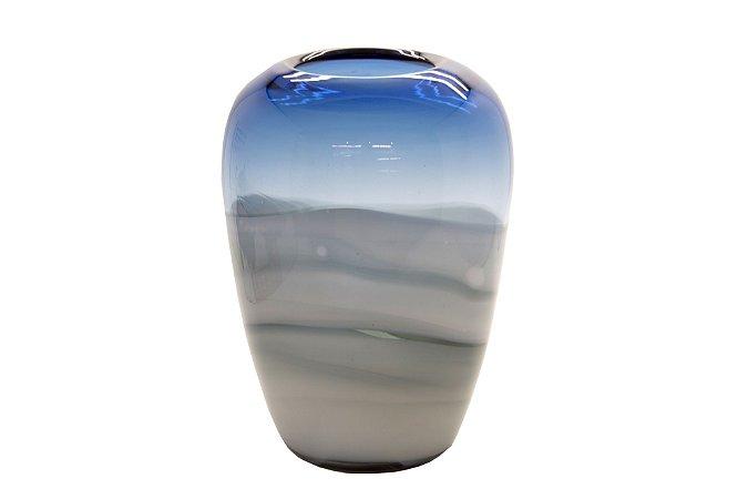 Vaso Decorativo Azul Vidro Vênus