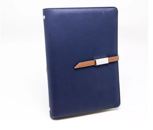 Agenda Executiva Luxo Com Carregador Power Bank Azul