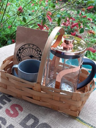 Kit Presente: Prensa francesa (1 L) + 250 g de café + caneca