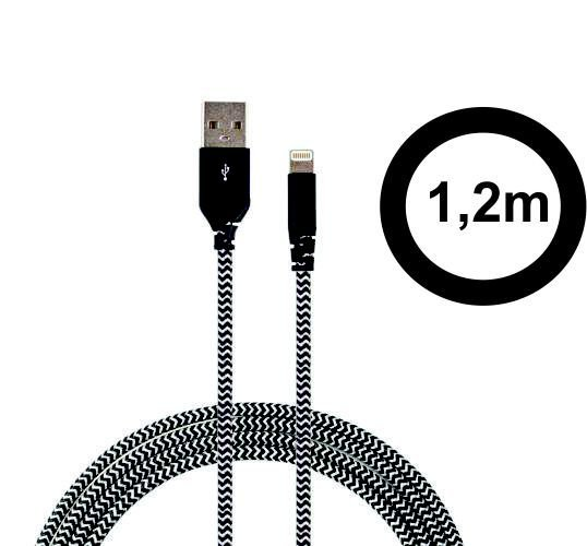 Cabo Lightning Com Certificado Apple De 1,2m Super Resistente Com Kevlar Zebra - Easy Mobile