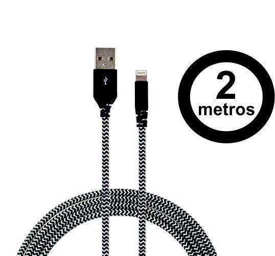 Cabo Lightning Com Certificado Apple De 2m Super Resistente Com Kevlar Zebra - Easy Mobile