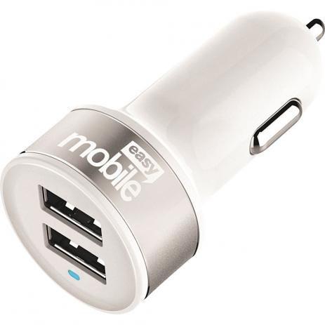 Carregador Veicular Turbo USB 2 Saídas 4,8A Branco Easy Mobile