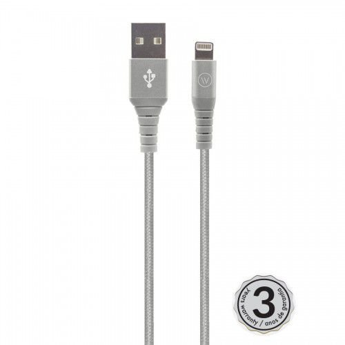Cabo Lightning Hard Nylon 120cm MFI Homologado Chip Apple - Iwill - Prata