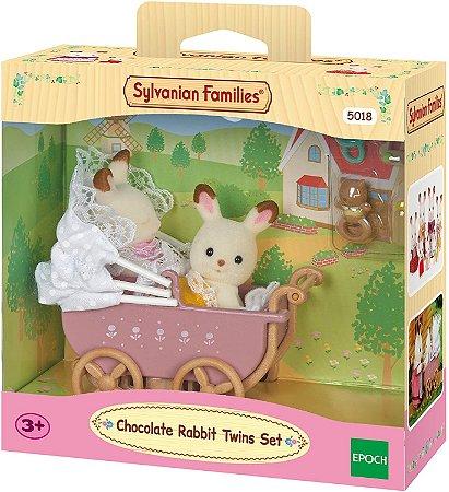Sylvanian Families - Bebê Gêmeos Coelho Chocolate e Carrinho de Bebê