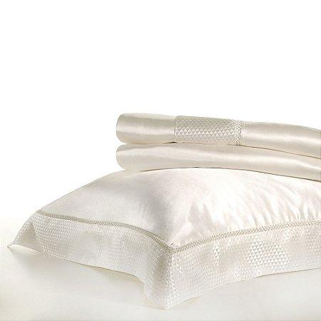 Jogo de Cama King - Seda Natural Branco - Buddemeyer Luxus