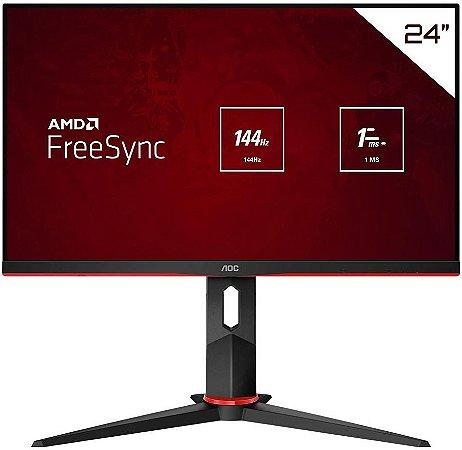 """MONITOR GAMER AOC HERO 23.8"""" LED IPS FULL HD 144HZ 1MS DISPLAYPORT/HDMI/VGA 24G2/BK"""