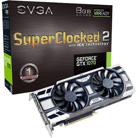 PLACA DE VÍDEO EVGA GEFORCE GTX 1070 SC2 8GB GDDR5 256BITS