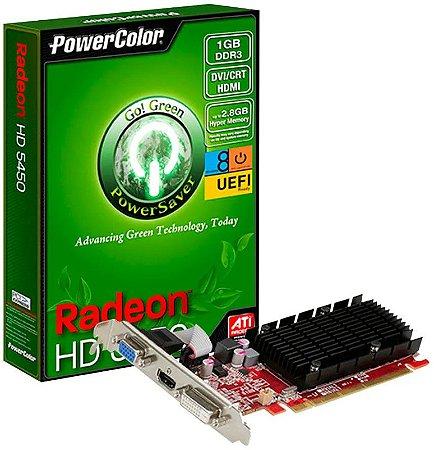 PLACA DE VÍDEO POWERCOLOR AMD RADEON HD 5450 1GB DDR3 - SEMINOVA