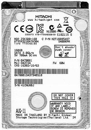 HD NOTEBOOK HITACHI 160GB 5400RPM Z5K320-160 (SEMINOVO)