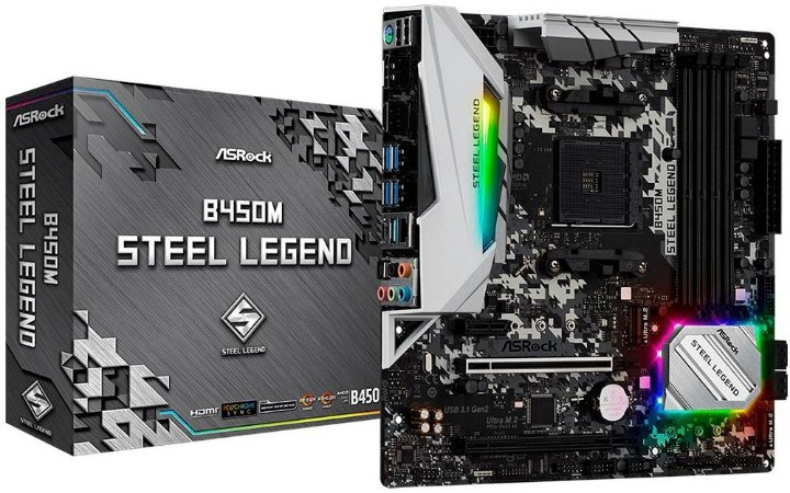 PLACA MÃE AMD ASROCK B450M STELL LEGEND DDR4 AM4
