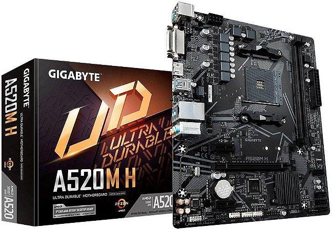 PLACA MÃE AMD GIGABYTE A520M H DDR4 AM4