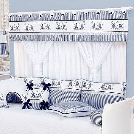 Cortina Quarto de Bebe NAVY Forrada 5 pçs Luxo