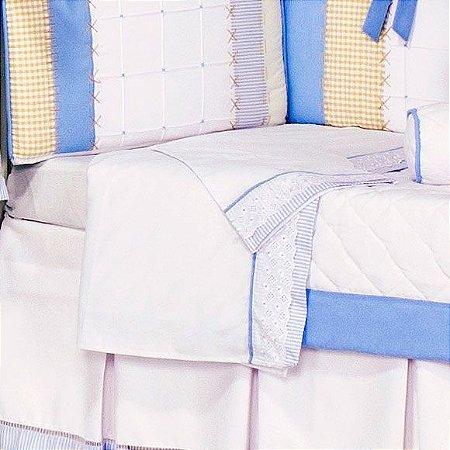Lençol de Berço Sleep Azul - Jogo 3 Peças com vira - 100% Algodão