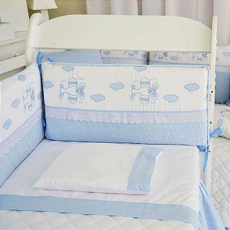 Lençol Mini Berço Canaa - Jogo Lençol 3 Pçs - Xadrez de Azul
