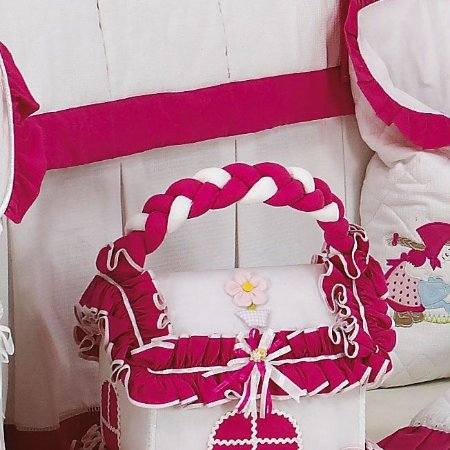 Saia de Berço Menina Camponesa Pink - Babados