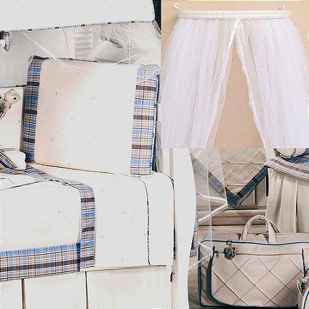 Dossel + Kit Berço Star Azul 9 Pçs Luxo 100% Algodão 200 Fios