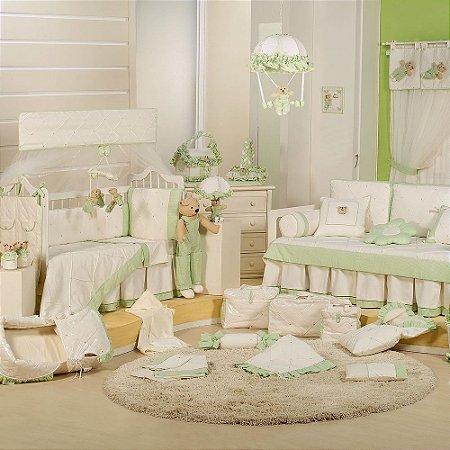 Quarto de Bebê Completo BABY DREAM Verde com Cama Babá Luxo 100% Algodão 27 Peças