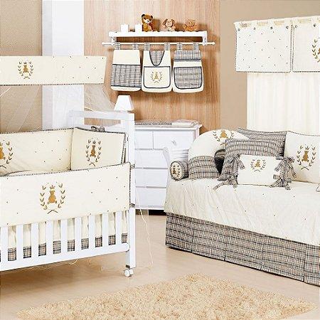 Quarto de Bebê Completo URSO KING com Cama Babá Luxo 100% Alg = 30 Pçs