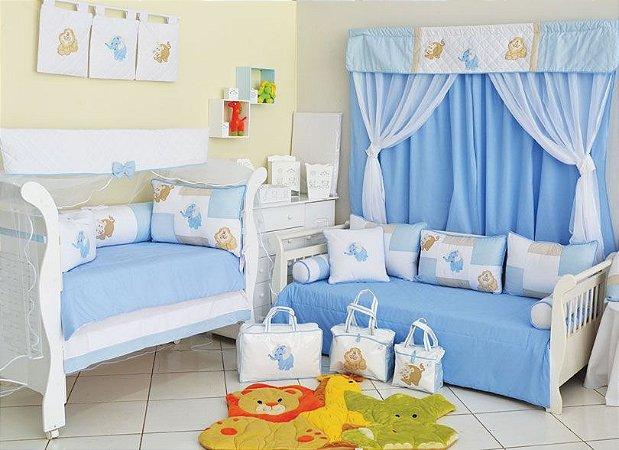 Quarto de Bebê Completo ZOO PATH Azul Claro com Cama Babá =  27 Peças