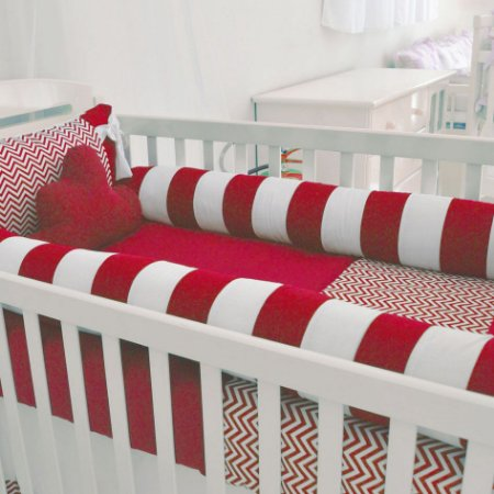 Edredom de Berço Bebê com Nuvem Chevron Path Vermelho 2 Pçs 100% Algodão Padrão Americano