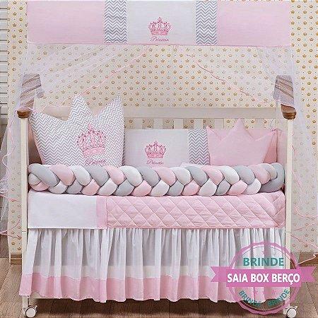 Kit de Berço Trança Princesa Coroa Cabeceira Rosa 11 Pçs  - Saia de Brinde