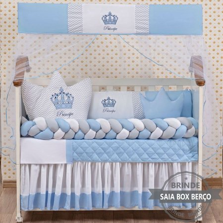 Kit de Berço Trança Principe Coroa Cabeceira Azul Claro 11 Pçs  - Saia de Brinde
