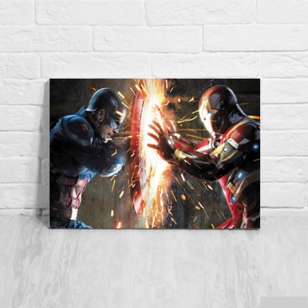 Placa Decorativa Capitão América vs Homem de Ferro
