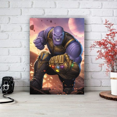 Quadro/Placa Decorativa Thanos e Manopla - Vingadores