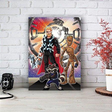 Quadro/Placa Decorativa Thor, Groot, e Rocket - Vingadores