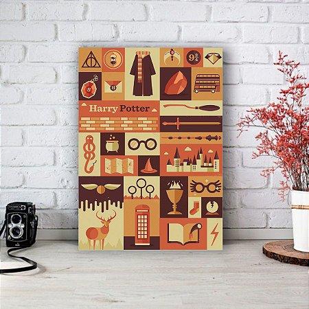 Quadro/Placa Decorativa Harry Potter Elementos