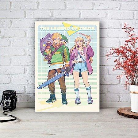 Quadro/Placa Decorativa Link e Zelda - The legend of Zelda