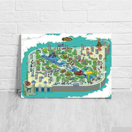 Quadro/Placa Decorativa Mapa League of Legends
