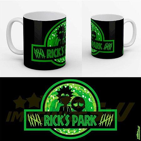 Caneca Rick and Morty em Jurassic Rick's Park