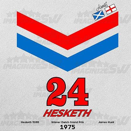 Camiseta Hesketh 308B James Hunt Campeão Mundial de F-1 em 1976