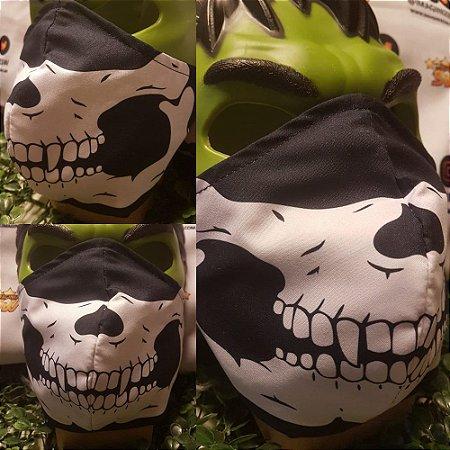 Mascara Proteção Personalizada Preta Caveira Lavável Algodão