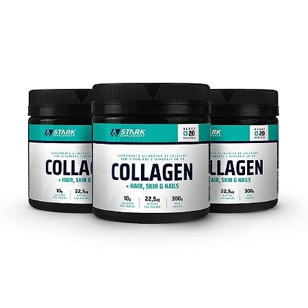 Kit 3x Collagen + Hair, Skin & Nails (300 g) - Colágeno com Vitaminas em pó