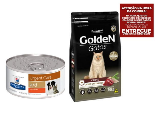 Combo Ração A/D Hills Diet para Cachorro e Gatos - 156g + Ração Golden para Gatos Adultos Sabor Carne 3kgs