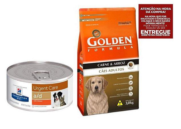 Combo Ração A/D Hills Diet para Cachorro e Gatos - 156g + Ração Golden Fórmula para Cães Adultos Sabor Carne e Arroz - 15Kgs