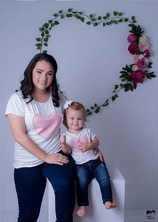 T Shirt Coração Rosa Mãe e Filha