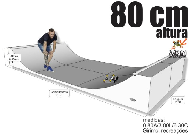 MINI RAMPA  HALF PIPE 80 (80A/3.00L/6.30C) NATURAL, PISO 2X NAVAL
