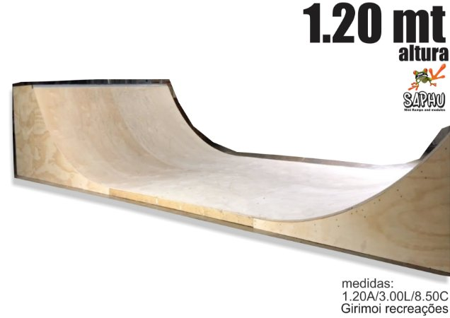 MINI RAMPA DE SKATE 1.20 (1.20A/3.00L/6.30C) LATERAIS NATURAL, PISO ULTRA