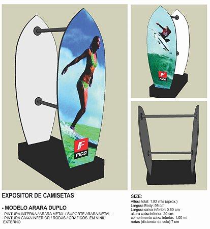 Expositor para Camisetas Bermudas calças loja MODELO ARARA DUPLA