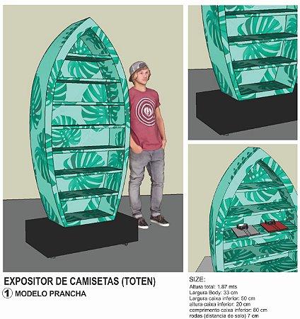 Expositor para Camisetas Bermudas calças loja MODELO PRATELEIRAS PRANCHA