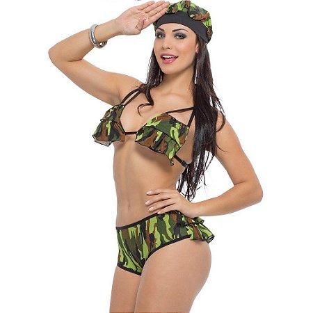 Kit Fantasia Militar Calcinha Sapeka